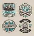 set black and white logos for camping theme vector image vector image