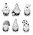 set isolated black gnomes vector image