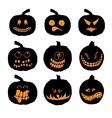Set of halloween pumpkins with different vector image vector image