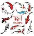 set of koi carps japanese fish colored korean vector image vector image