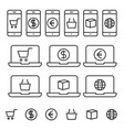 shopping online icons with white background vector image