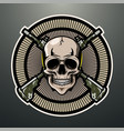 skull gunner mascot logo design vector image