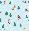 snowboarding women seamless pattern winter vector image vector image