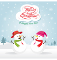 Snowman and Snowgirl Christmas vector image vector image