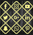 social media icon cream set vector image vector image