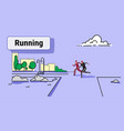 sports man woman jogging runners couple running vector image