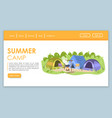 summer camp landing page template tourism bureau vector image