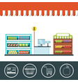 supermarket shelves design vector image