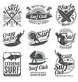 surfing club vintage emblems surf board vector image
