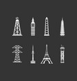 tower icon set grey vector image vector image