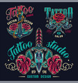 vintage tattoo studio colorful emblems vector image vector image
