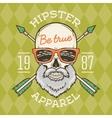 vintage true bearded hipster skull vector image vector image