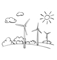 wind turbines and nature vector image