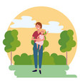 woman with child round icon vector image