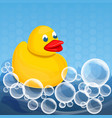 yellow duck foam soap concept background cartoon vector image