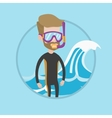 Young scuba diver vector image vector image