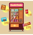 Retro vending machine with snacks and vector image