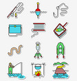fishing hobby icons set in line art thin and vector image