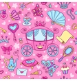 Seamless pattern with cute carriage vector image