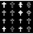 white crosses icon set vector image