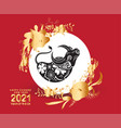 2021 chinese new year with doodle ox silhouette