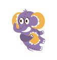 adorable cartoon baby elephant character lying on vector image vector image