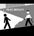 aggressive policeman walking towards black man vector image vector image