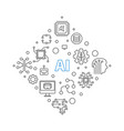 ai or artificial intelligence concept line vector image vector image