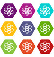 atom icons set 9 vector image vector image