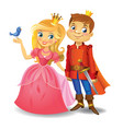 beautiful princess and prince vector image vector image