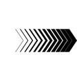 black arrow in a row arrows black on white vector image vector image