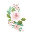 bouquet pink watercolor flowers hand-painted vector image