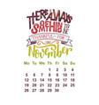 calendar for november 2 0 1 8 hand drawn vector image vector image
