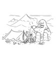 cartoon drawing of yeti who is eating or vector image vector image