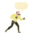 cartoon retro boxer man with speech bubble vector image