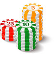 Casino chips on white vector image vector image