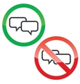 Chat permission signs set vector image vector image