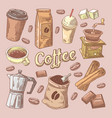 coffee hand drawn doodle with beans sugar vector image