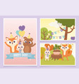 cute animals with party hats cake balloons vector image