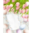 Easter egg tulips and empty vintage card EPS 10 vector image