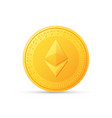 ethereum icon is a golden color crypto currency vector image