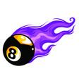 flaming billiards eight ball cartoon vector image vector image