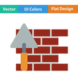 Flat design icon of brick wall with trowel vector image vector image