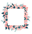 floral frame isolated on white background vector image vector image