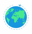 flying plane around the world the path plane vector image vector image