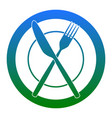 fork knife and plate sign white icon in vector image vector image