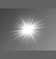 glowing silver star on transparent background vector image vector image