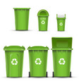 green recycling bin bucket for glass trash vector image vector image