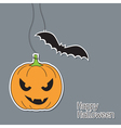halloween pumpkin and bat vector image vector image