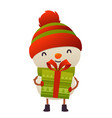 happy cute cartoon snowman with gift present vector image vector image